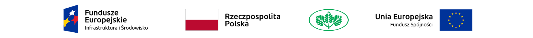 Logotyp informujący odofinansowaniu zawiera symbole: Fundusze Europejskie Infrastruktura iŚrodowisko, flaga Polski inapis Rzeczpospolita Polska, symbol trzech zielonych gałązek, Unia Europejska Fundusz Spójności